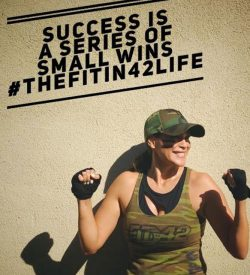 Fit In 42 Fitness Gym - Lean mommy makeover - Female member feeling proud and strong - Quote 'Success is a series of small winds #thefitin42life'.