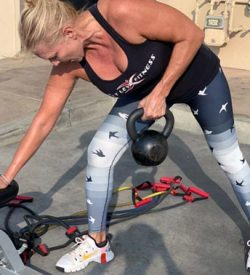 Fit In 42 La Quinta Gym kettlebell hand weights exercise outdoors