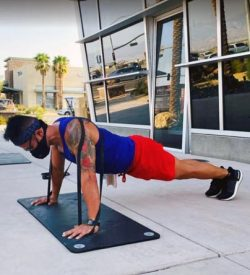 Fit In 42 Palm Springs Gym pushups stretch bands outdoor exercise